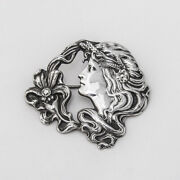 Unger Brothers Large Blossom Lady Brooch Sterling Silver
