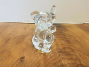 Vintage Clear Glass Small Elephant Figurine Candy Container Paperweight 5 1/2