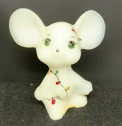 Fenton Glass Gift Shop Exclusive Hand Painted Christmas Lights Mouse Figurine