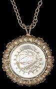 1975 Malta Silver 4 Pounds W/sterling Silver Bezel And Chain St.agatha Tower 47gr