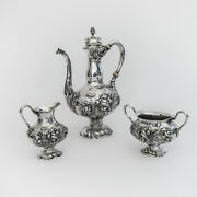 Unger Brothers Repousse Floral 3 Piece Demitasse Set Sterling Silver