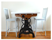 Antique Gear Marble Top Steam Punk/ Industrial Art Kitchen Table And Chairs
