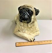 Porcelain Pug Dog Figurine By The Townsends 1980© 8wide / X Long / X High