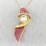 1940's Antique Retro 18k Yellow Gold 6.5ctw Ruby And Diamond Pearl 24 Necklace
