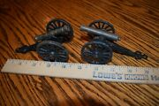Vintage Lot Of 2 Cast Iron And Brass Barrel Cannon Toy