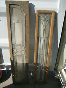Antique Leaded Glass Windows In Frames