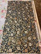 Antique Chinese+japanese Qing Dynasty Flower Silk Brocade 19th Century 32 X 62