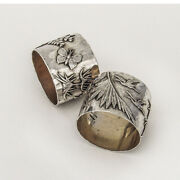 Aesthetic Napkin Rings Pair Applied Decorations Shiebler Sterling Silver