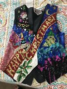 Gorgeous Ugly Christmas Sweater Vest- Handmade -size Small- Sequins
