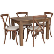 46 X 30and039and039 Antique Rustic Farm Dining Table Set W/4 Cross Back Chairs And Cushions