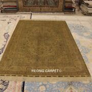 Yilong 5and039x8and039 Golden Silk Rugs Hand Knotted Antique Handmade Bedroom Carpet 1000