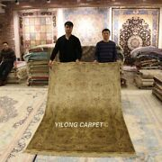 Yilong 5and039x8and039 Pictorial Silk Rug Hand-knotted Golden Vintage Carpet Handmade 1025