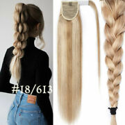 16-30thick Straight Wrap- Ponytail 100 Real Remy Human Hair Clip In Extension