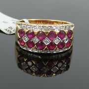 Vintage 0.15ct Diamond And 0.75ct Ruby 18k Yellow Gold Checkers Ring