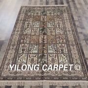 Yilong 5and039x8and039 Garden Scene Handmade Silk Rugs Flooring Hand Knotted Carpets 640b