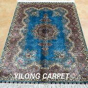 Yilong 3and039x4.5and039 Handmade Silk Area Rugs Blue Handcraft Discount Shag Carpets 0568