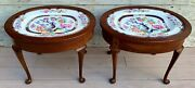 Antique Pair Of 19th C. T.c. Brown-westhead Moore Co. Porcelain Tray Tables