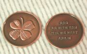 Lucky Coin Clover Four Leaf Shamrock Token God Be With You Pocket Piece Irish