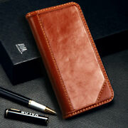 For Iphone 7 Plus 8 Plus Genuine Leather Flip Wallet Case Cover Brown Card Pouch