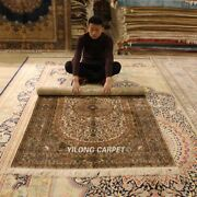 Yilong 4and039x6and039 300lines Vintage Area Rug Medallion Hand Knotted Silk Carpet L954h