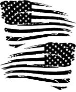 2 Distressed Military American Flag Decal Sticker Fit Dodge Jeep Chevy Ford