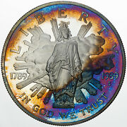 1989-s Us Commemorative Silver Dollar Proof Monster Toned Rainbow Color Unc Dr