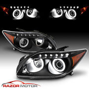 [led Halo]for 2004-2010 Scion Tc Coupe Black Led Tube Projector Headlights Pair