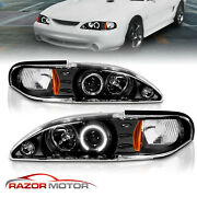 94-98 Ford Mustang Angel Eye Halo Ring Projector Black Headlights Lh+rh Lamps 97