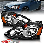 2002-2004 Acura Rsx Dc5 Jdm Black Replacement Headlights Head Lamps Pair