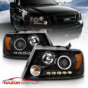 04-08 F150 Black Projector Headlights Blk Pair/hi-power Led Daytime Lamps New