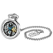 Stuhrling Menand039s Pocket Watch Skeleton Dial Dual Time Am/pm Auto And Wind Movmnt