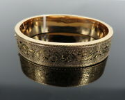 Antique 1800andrsquos Decorated Enamel 14k Yellow Gold Hinged Hollow Bangle