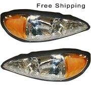 Halogen Head Lamp Assembly Set Of 2 Lh And Rh Side Fits 1999-2005 Pontiac Grand Am