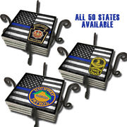 State Police Highway Patrol Thin Blue Line Flag 50 States Coasters Set Of Five