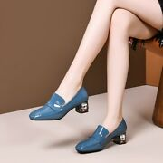 Womens Chic Patent Leather Rhinestone Block Heel Slip On Court Shoes Loafers Cmm