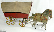 Antique Gibbs 19 Horse Drawn Covered Wagon Pull Toy Vintage Mechanical Toy