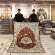 Yilong 5and039x8and039 Red Handmade Silk Rugs Medallion Hand Knotted Parlor Carpets J10b