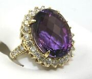 Oval Purple Amethyst And Diamond Halo Solitaire Ring 14k Yellow Gold 19.58ct