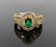 Vintage 0.75ct Diamond And 0.40ct Vivid Green Colombian Emerald 18k Gold Ring