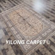 Yilong 5and039x8and039 Medium Handmade Carpets Medallion Hand Knotted Silk Area Rugs Y82b