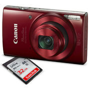 Canon Powershot Elph 190 Is Digital Camera Red With 10x Optical Zoom And Bu...