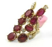 Long Oval Ruby And Diamond Cluster Leaf Ladyand039s Ring Band 14k Yellow Gold 12.70ct