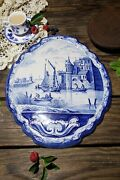 """Antique Blue And White Dutch Delft Pottery Tile Wall Plaque With Canal Scene 14"""""""