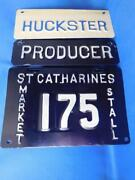 Ontario License Plate Lot 3 St Catherines Market Stall Producer Huckster Rare