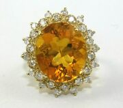 Oval Mexican Fire Opal And Diamond Halo Ladyand039s Ring 14k Yellow Gold 6.24ct