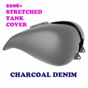 Charcoal Denim Stretched Tank Cover For Harley 08-2020 Street Glide And Road Glide