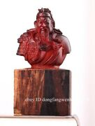 Red Sandalwood Carved Ancient Famous Warrior Bust Gong Guan Yu Warrior Statue