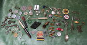 Great Eclectic Junk Drawer Group - Jewelry Coins Buttons Pen Keys And Cool Stuff