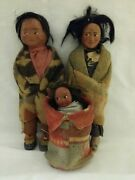 Vintage Native American Indian Pre Wwii Era Skookum Family Dolls Squaw Papoose