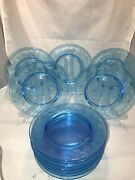 12 Fostoria Etched Electric Royal Blue Salad Luncheon Glass Plates 7.5andrdquo